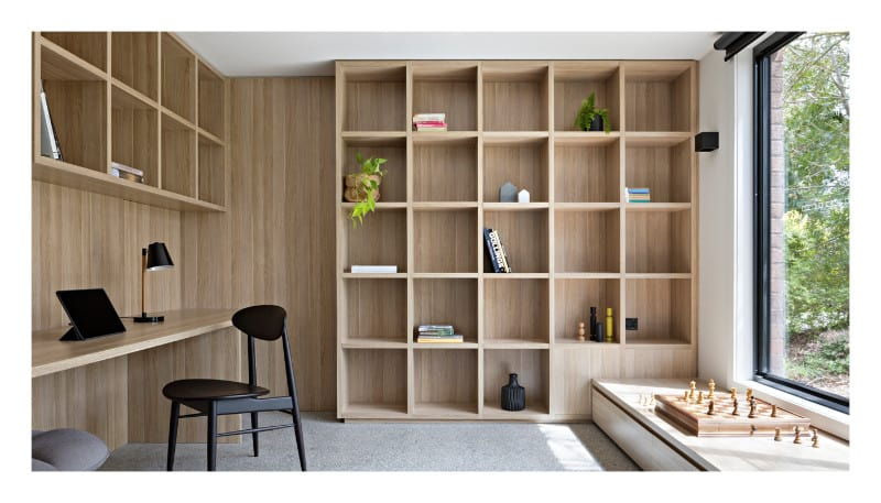 a room full of functional shelves for storage