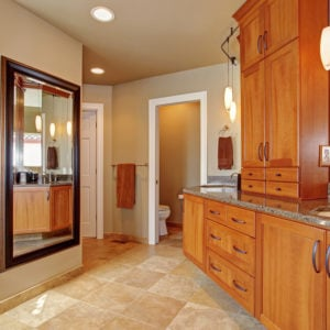 Bathroom with extensive custom built in storage cabinets