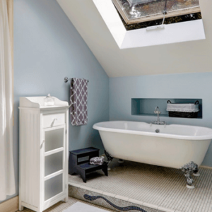 Blue Bathroom Design with Roof window, wood flooring and baththub