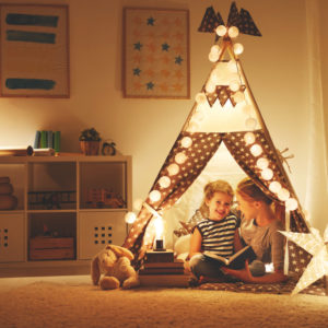 Kids bedroom with great lighting in tent