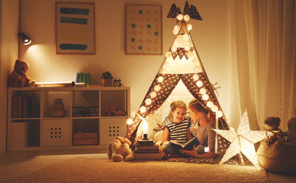 Kids bedroom with great lighting in tent