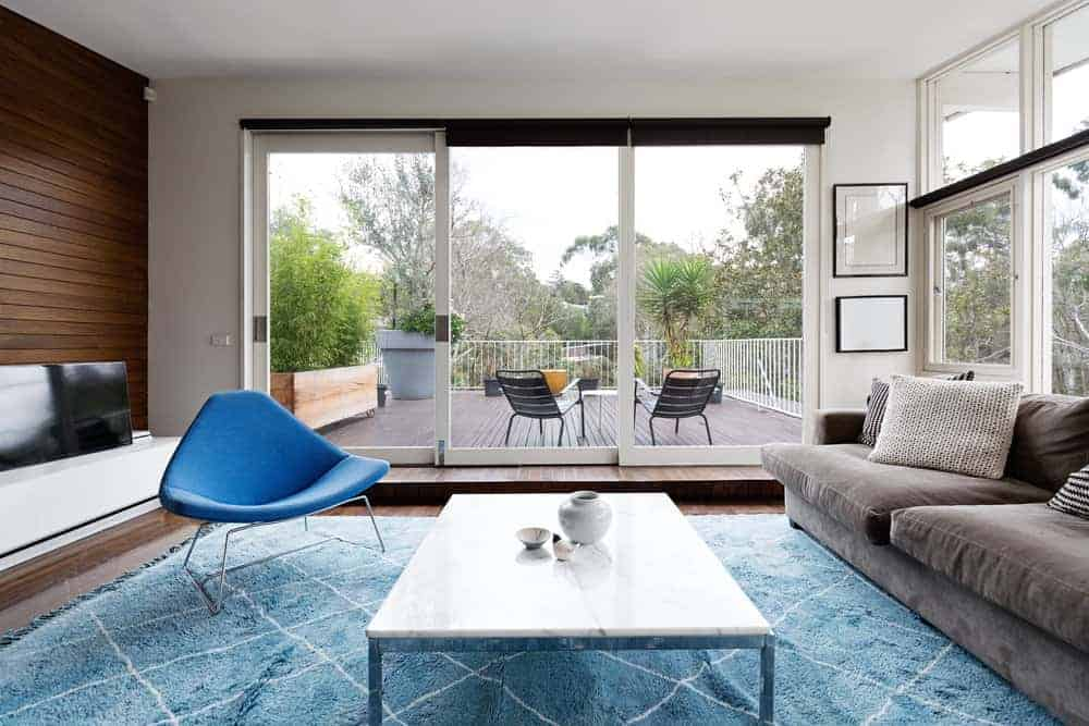 Living room with blue accent chair