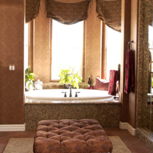Mediterranean Primary Bathroom with Red Carpet and large window