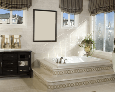 Victorian Bathroom with large window and dark wood vanity