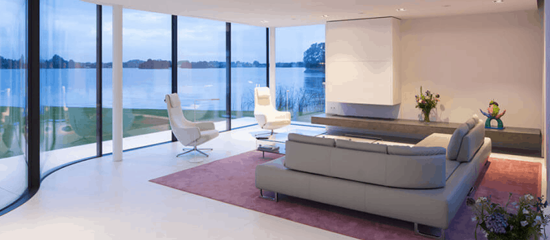 White Living Room with Gray Furniture