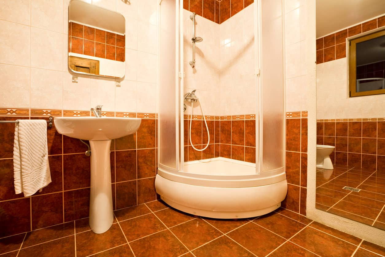 Bathroom with full-length mirror