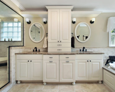 Master bathroom with custom cabinets.