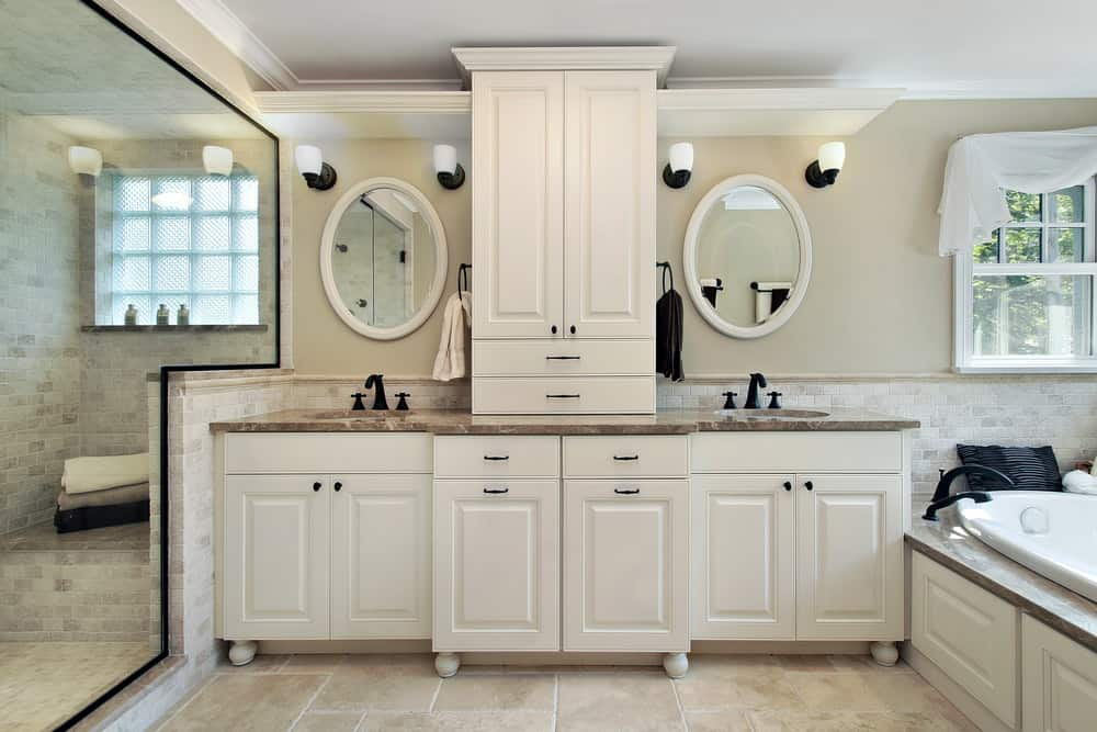 Master Bathroom With Custom Cabinets