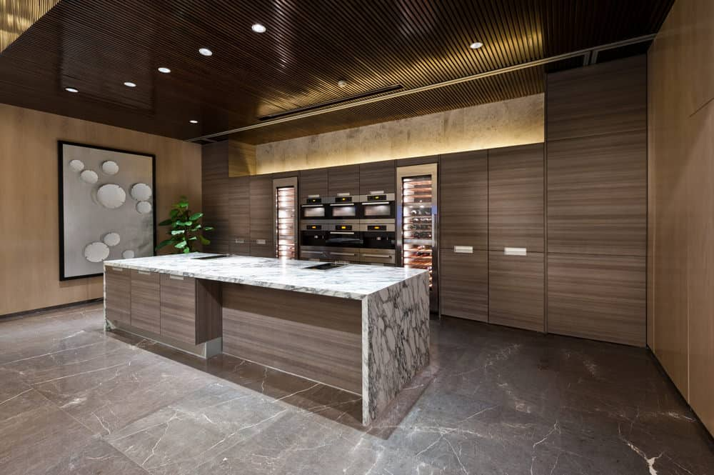 kitchen with marble floo