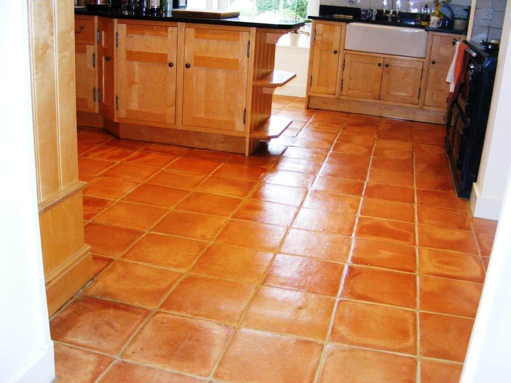 kitchen with terra cotta floor