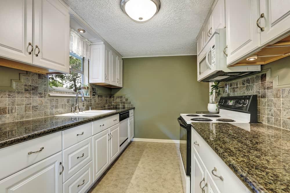 Kitchen with linoleum flooring