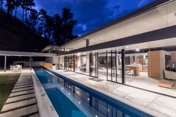 A large lap pool in an astonishing property, looks stunning.