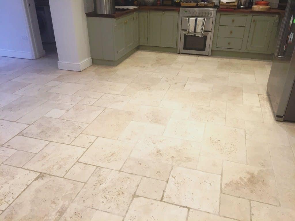 Kitchen with limestone floor