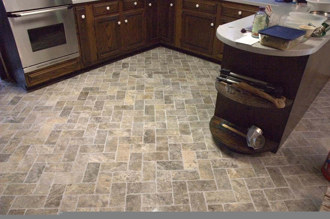 Herringbone kitchen floor pattern example