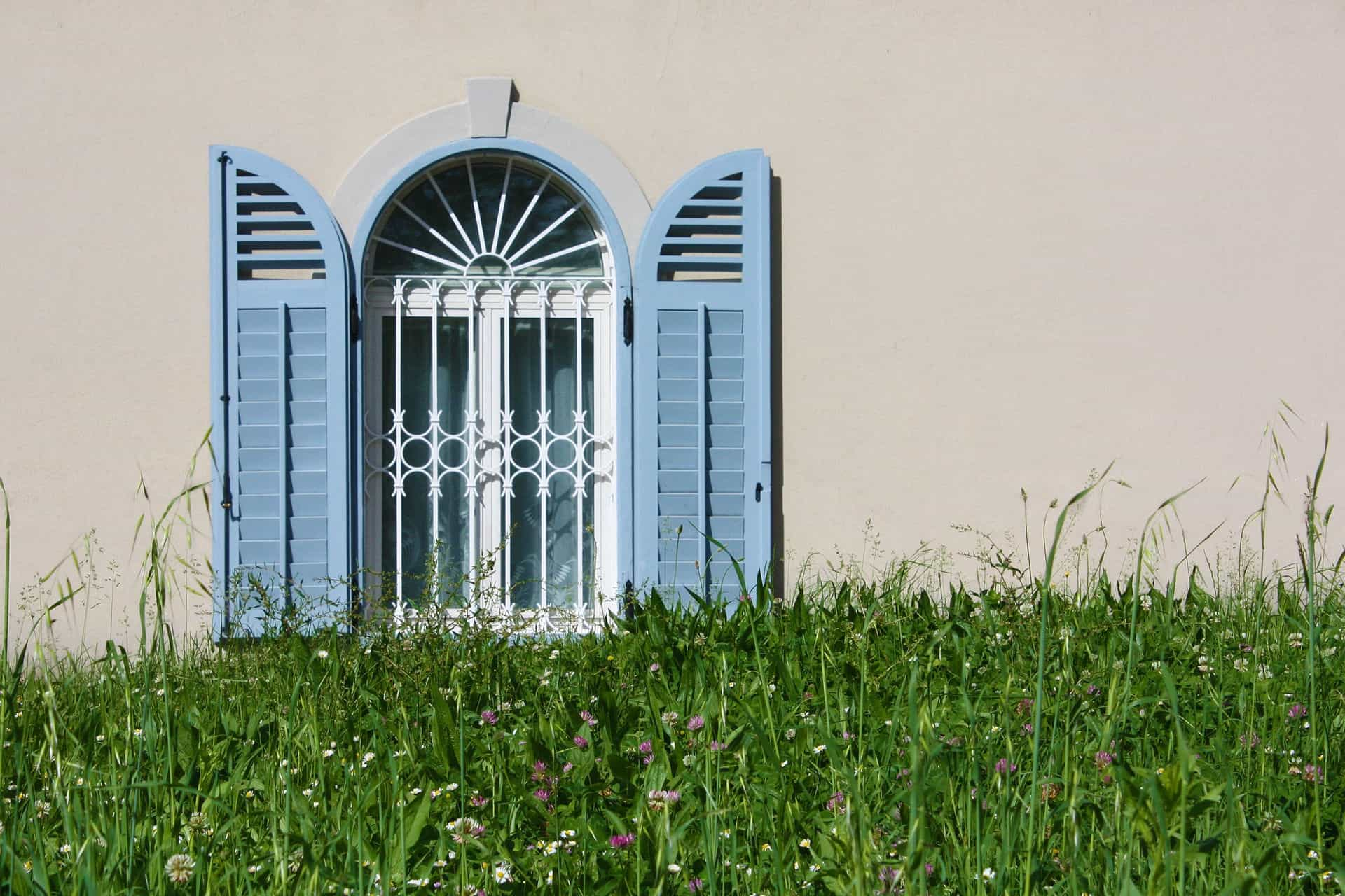 blue window with bars