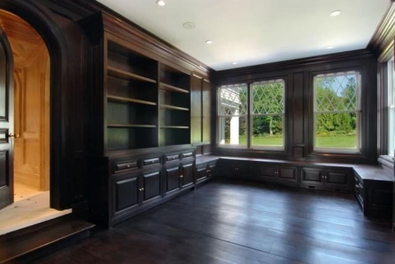 Beyonce and Jay Z's estate's large hardwood built-in closet and hardwood flooring.
