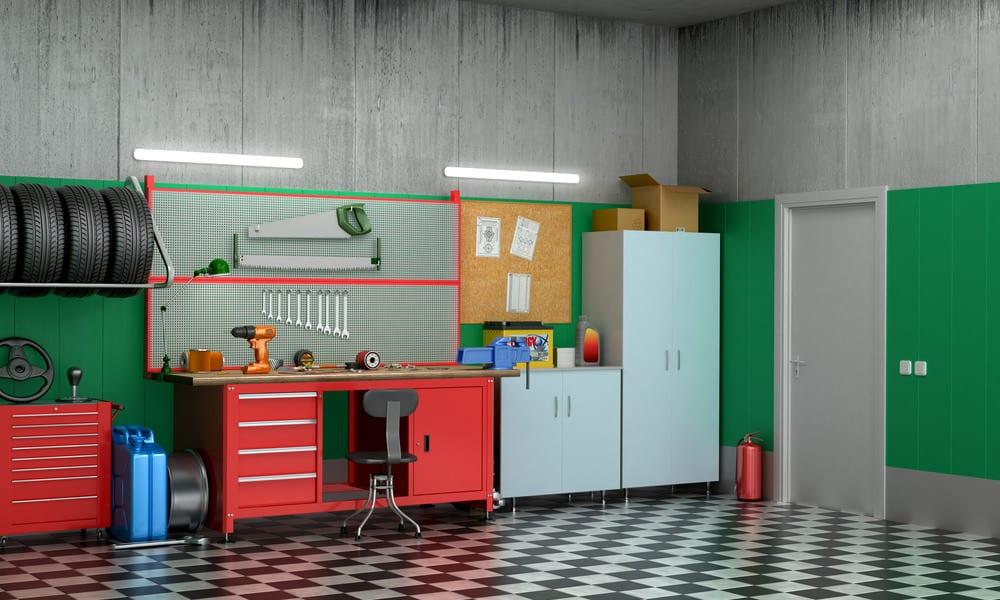 Interior of cool garage