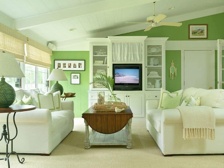 The bright green walls are a perfect match for the white shed shiplap ceiling and white sofas flanking a rustic wooden coffee table over the beige carpeted flooring.