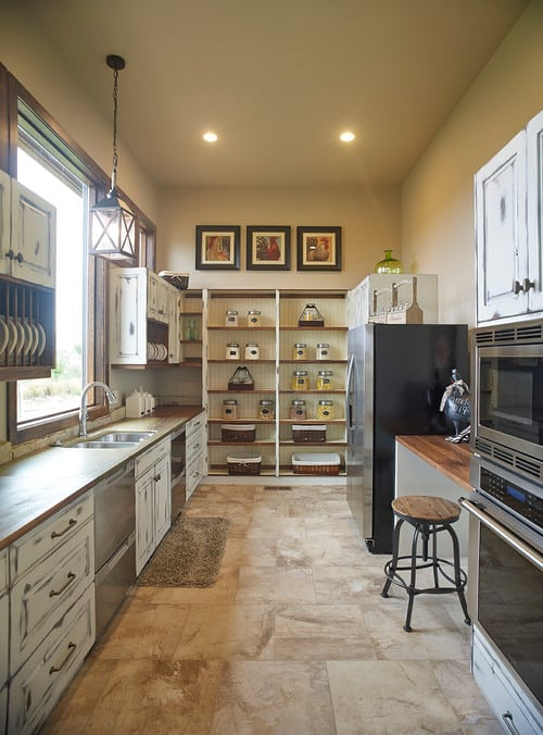 farmhouse large country galley kitchen walk-in pantry