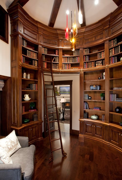 An idealistic reading nook primarily built with hardwood.