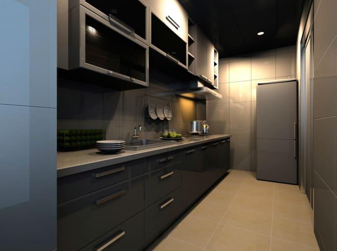 Dark small gallery modern kitchen desing.