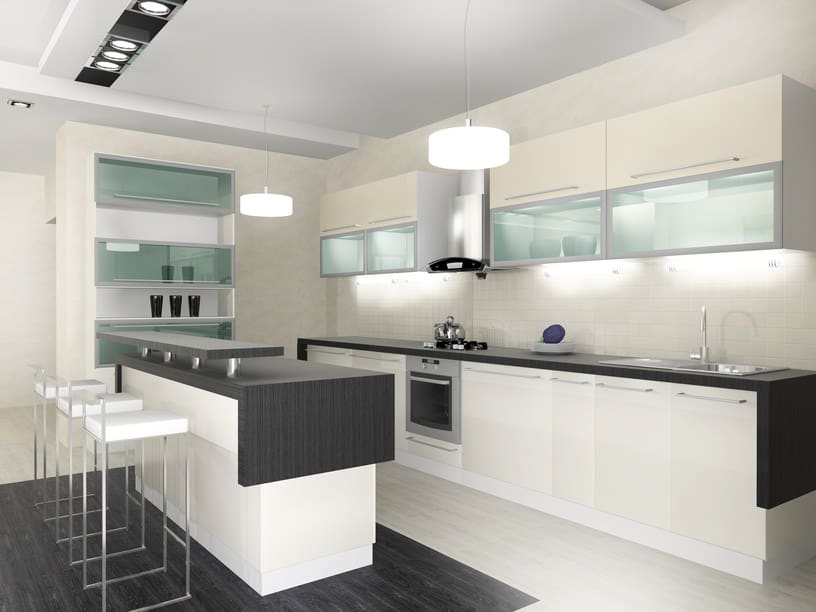 All White Modern Kitchen Black, white and glass modern kitchen.