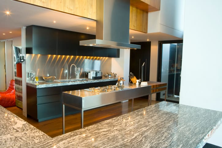 Modern Kitchen Design With Black, Wood And Stainless Steel. Full Stainless  Steel Island And