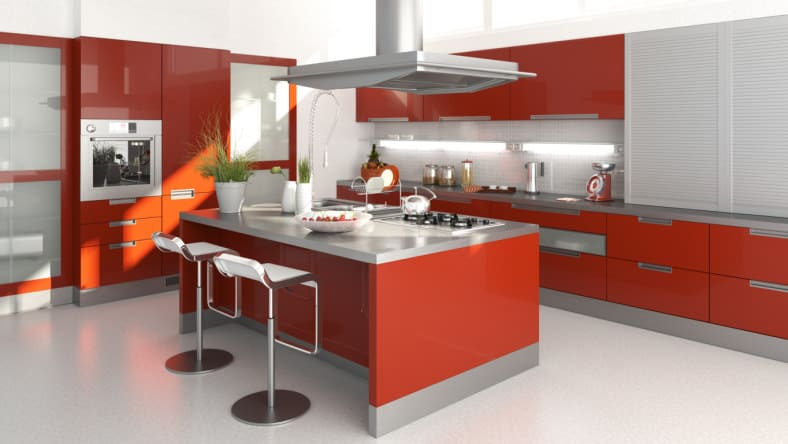 Modern Kitchen Design With Red High Gloss Cabinets And Stainless Steel  Countertops.