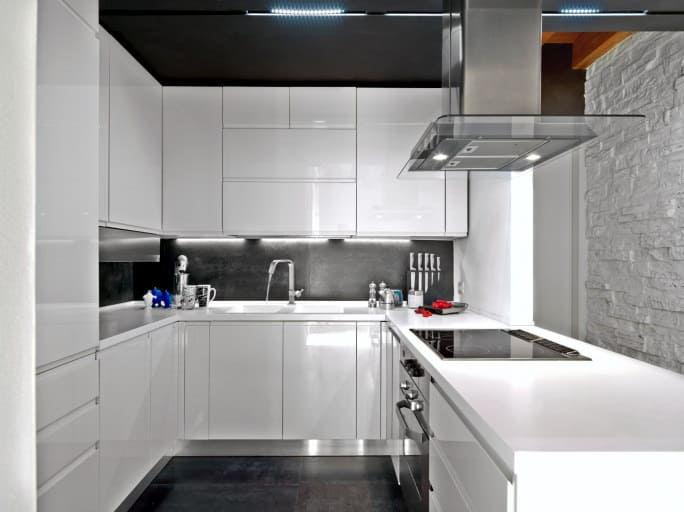 White And Black Kitchen Design. High Gloss White Cabinets; Black Ceiling,  Backsplash And