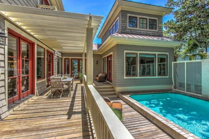 craftsman porch with swimming pool