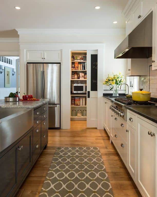 Traditional Kitchen Walk In Pantry With Farmhouse Sink And Hardwood Floors By Wright Ryan Homes