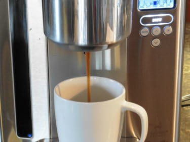 Photo of coffee being brewed from Breville Gourmet machine