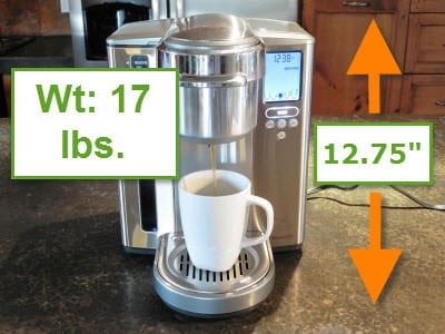 Photo showing dimensions of the Breville Gourmet single cup brewer