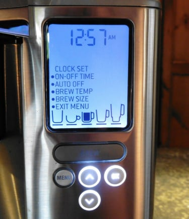 Close-up of the menu screen and options on the Breville Gourmet Single Cup coffee machine