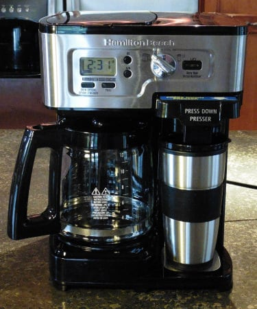 Front view of the Hamilton Beach 2-Way Flexbrew hybrid single cup and drip pot coffee maker