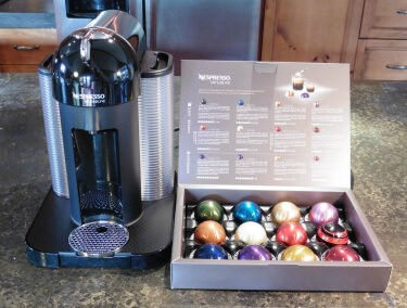 Photo of a variety pack of Nespresso capsules used for the VertuoLine