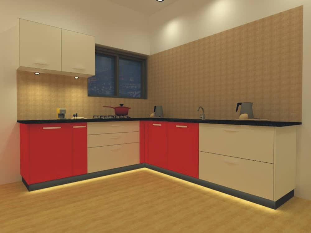 An L-shaped kitchen showcases red and white cabinetry topped with absolute black granite counter and accented by strip lights fitted at the bottom.