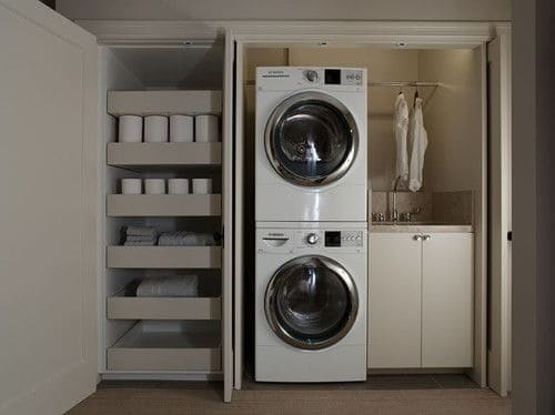 Contemporary Closet Type Laundry Room With Single Sink And Storage Along  With Clothesline.Photo By K.G.Bell Construction   Discover Laundry Room  Design ...