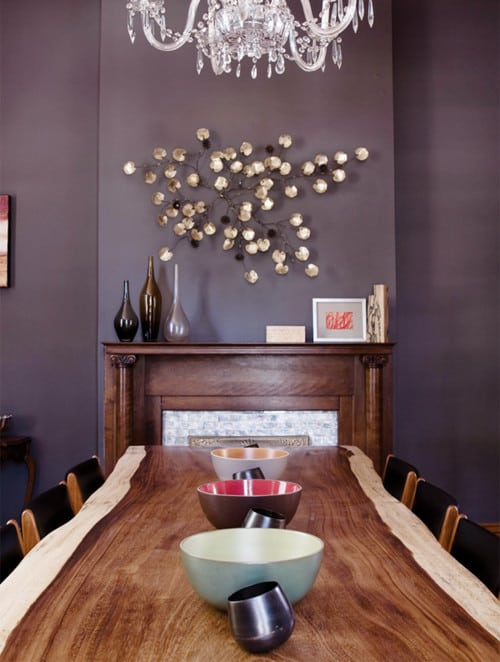 Mid Sized Dark Wood Floor Enclosed Dining Room Idea With Purple Walls And A Standard
