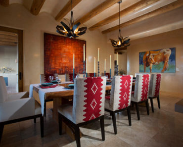 Large southwest ceramic floor enclosed dining room photo with beige walls