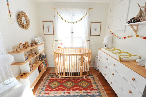 Scandinavian Nursery Bedroom With White Walls And Beautiful Freestanding  Shelving.Photo By Erin Kelly Photography   Discover Nursery Design Ideas
