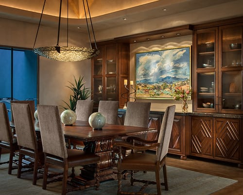 Built In Walnut Stained Cabinets With Artwork Center For Dining Room