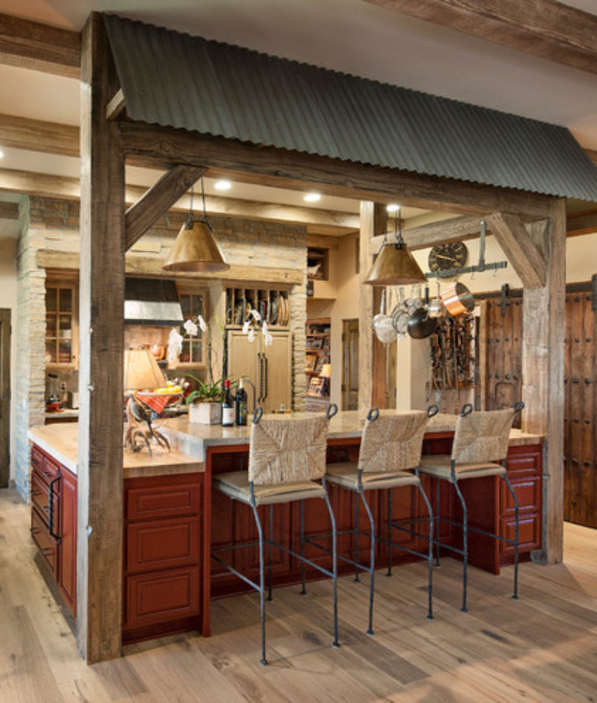 Southwestern Kitchen with light hardwood floors