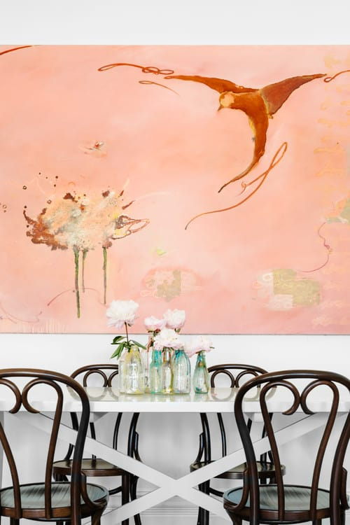 Eclectic Style Dining Room With Pink Walls