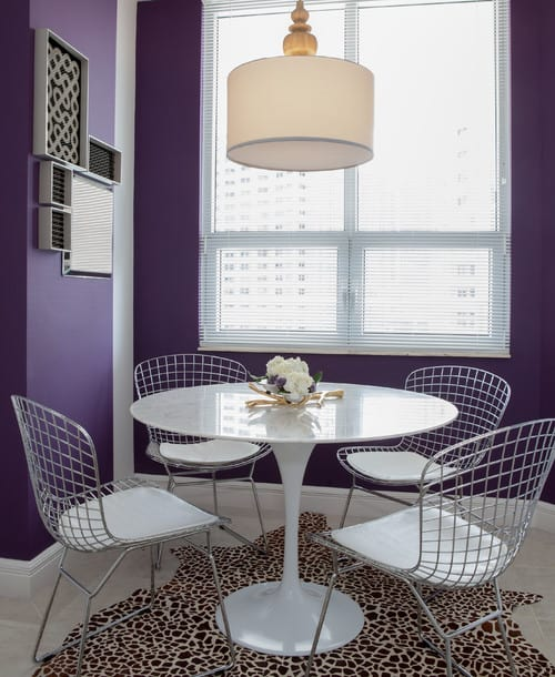 Modern Dining Room Design With Purple Walls