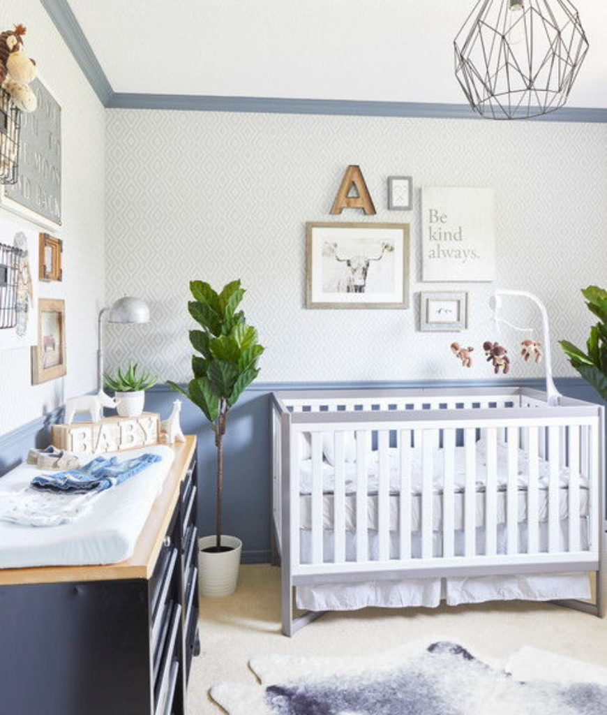 Transitional blue nursery bedroom with indoor plants and carpet flooring.