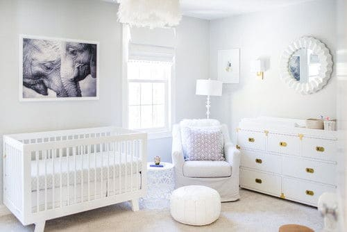 Transitional Pure White Nursery Bedroom With Carpet Flooring And Small Window
