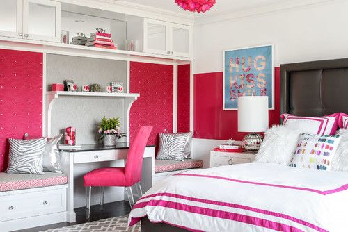 White And Red Bedroom For Young Girls.Photo By Karen B Wolf Interiors,  Associate ASID   Browse Kidsu0027 Room Photos