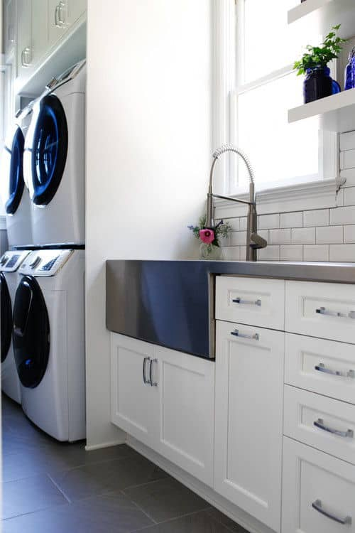Farmhouse Laundry Room With Built In Desk And Ironing Board Together Hardwood Flooring Recessed Ceiling Lights