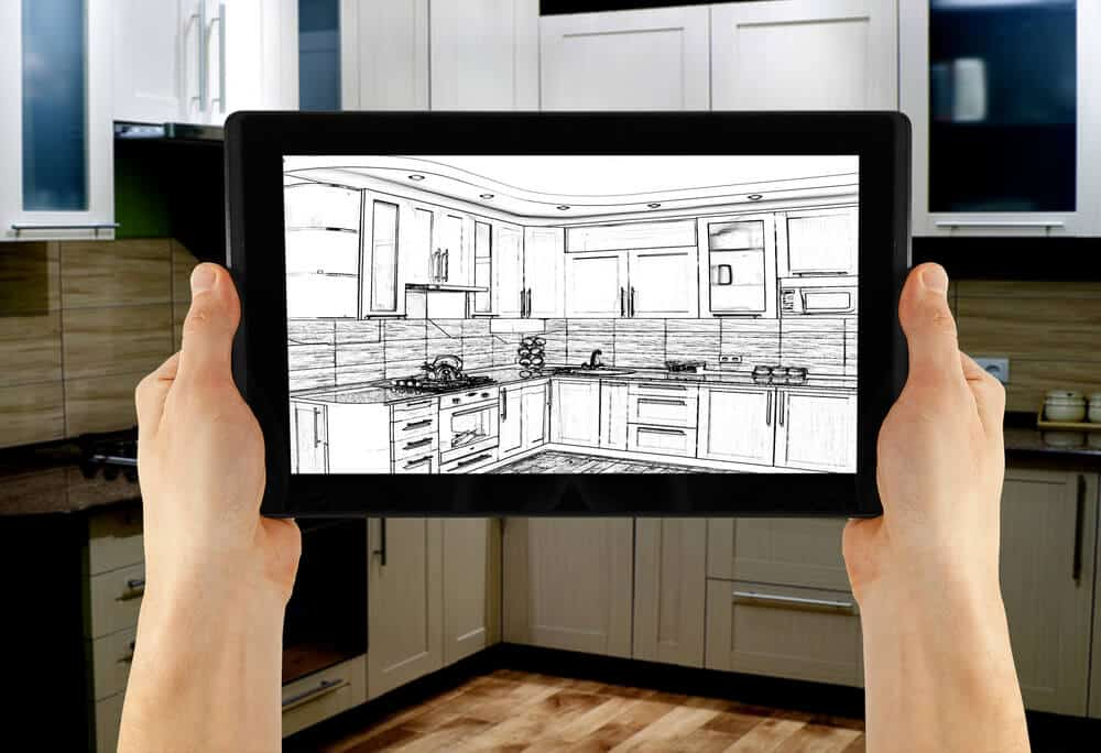Interior design software on a tablet.
